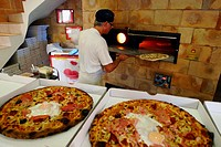 A pizza shop near Pezenas France with a traditional wood fired over