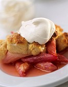 Rhubarb cobbler with cream