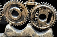 Yangshou (China): detail of a sculpture made with gears outside a bar along the Walking Street