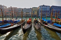 impression from Venice in Italy with its typical channels and boats