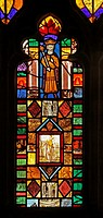 A medieval stained glass window depicting King Ceolwyn, St Cuthbert´s Church, Edenhall near Penrith, Cumbria  The glass in the east window contains a ...