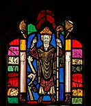 A medieval stained glass window depicting Saint Cuthbert, St Cuthbert's Church, Edenhall near Penrith, Cumbria  The glass in the east window contains ...