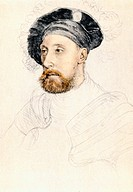 Sketch by Hans Holbein the Younger, Sir Nicholas Carew, 1527/8, Colour Illustration