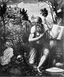 Saint Jerome in the Desert, After Giovanni Antonio Bazzi or Il Sodoma, Black and White Illustration