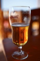 Africa, Cape Verde, Sal, Beer glass in bar, close up