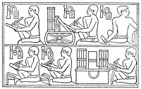 SCRIBE: EGYPTIAN.Two scribes, squatting at their desks piled with rolled-up records, assisted by their clerks. A relief from the tomb of Ti at Sakkara...