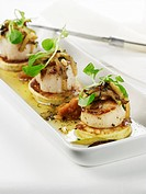 Scallops on Johnny Cakes with Apple and Squash Puree