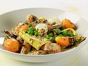 Fresh Noodles with Rabbit, Carrots and Peas