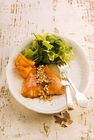 Oven_baked salmon with orange sauce and peanuts