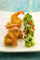 Coconut prawns with avocado salad