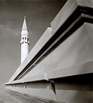 A minaret of the contemporary Sakirin Mosque in Karaca Ahmet Cemetery in Uskudar, Istanbul, Turkey