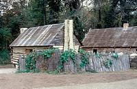 RECONSTRUCTED SLAVE QUARTERSat Carter's Grove plantation, Virginia.