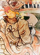 TOULOUSE-LAUTREC, 19th C.At the Nouveau Cirque: Five Stuffed Shirts. Watercolor.