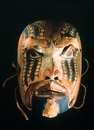 PACIFIC NW NATIVE AMERICAN MASK.Shaman's spirit mask. Tlingit. Wood, paint, copper, and skin.