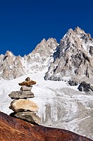 A cairn with the mountains in background, Tour Glacier, Mont Blanc massif, Chamonix, France