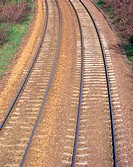 High angle view of railroad tracks, Edinburgh, Scotland