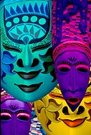 Colorful masks hanging