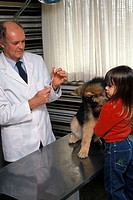 Male veterinarian examining a dog with a girl