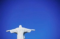 Low angle view of Christ the Redeemer Statue, Mount Corcovado, Rio de Janeiro, Brazil