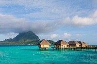 Stilt houses at a tourist resort on the beach, Pearl Beach Resort, Bora Bora, French Polynesia