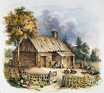 ROCHESTER, NY: LOG CABIN.A log cabin from the first settlement at Rochester, New York, as it appeared in 1812: American lithograph, 19th century.