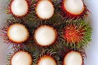 High angle view of rambutans in a plate, Khon Kaen, Thailand