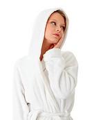 Teen woman in bathrobe