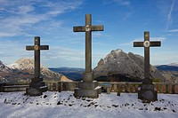 Snowy calvary from the natural park of Urkiola, Basque Country