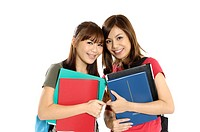 Female university students holding books (thumbnail)