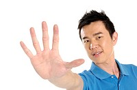 Male university student showing stop gesture