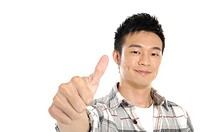 Male university student showing thumbs up sign