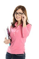 Portrait of a female university student adjusting her eyeglasses