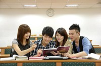 University students studying in a classroom