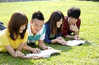 University students studying in a lawn