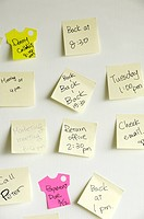 Adhesive notes stuck on a wall
