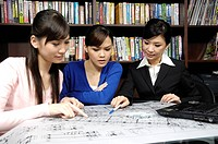 Female architects working on blueprints in an office