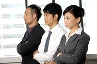 Business executives standing in a row in an office