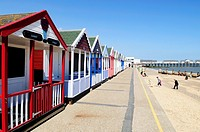 Beach Huts, Promenade and Beach at Southwold, Suffolk, England, UK