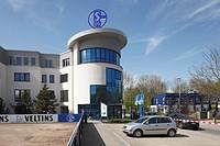 sports, football, Bundesliga, 2010/2011, Veltins Arena, former Arena AufSchalke, branch office of football club FC Schalke 04, logo S04, Germany. Gels...