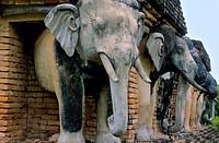 Elephant statues in Wat Sorasak  Sukhothai Park  Thailand