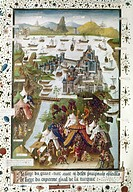 SIEGE OF CONSTANTINOPLE.Siege of Constantinople by the Turks in 1453: French manuscript illumination, 15th century.