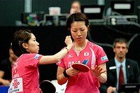 Rotterdam The Netherlands 10-5-2011 World Cup Table Tennis  Wisako Wakamiya & Hiroko Fujii JPN make sure everything is in place