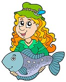 Fisherwoman holding big fish _ isolated illustration.