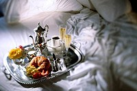 High angle view of breakfast tray on a bed