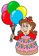 Girl with cake and balloons _ isolated illustration.