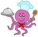 Octopus chef on white background _ isolated illustration.