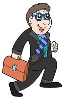 Running businessman on white background _ isolated illustration.