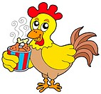 Cartoon chicken with meal box _ isolated illustration.