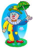 Cartoon clown holding umbrella _ color illustration.