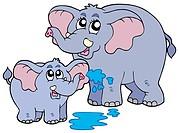 Female and baby elephants _ isolated illustration.